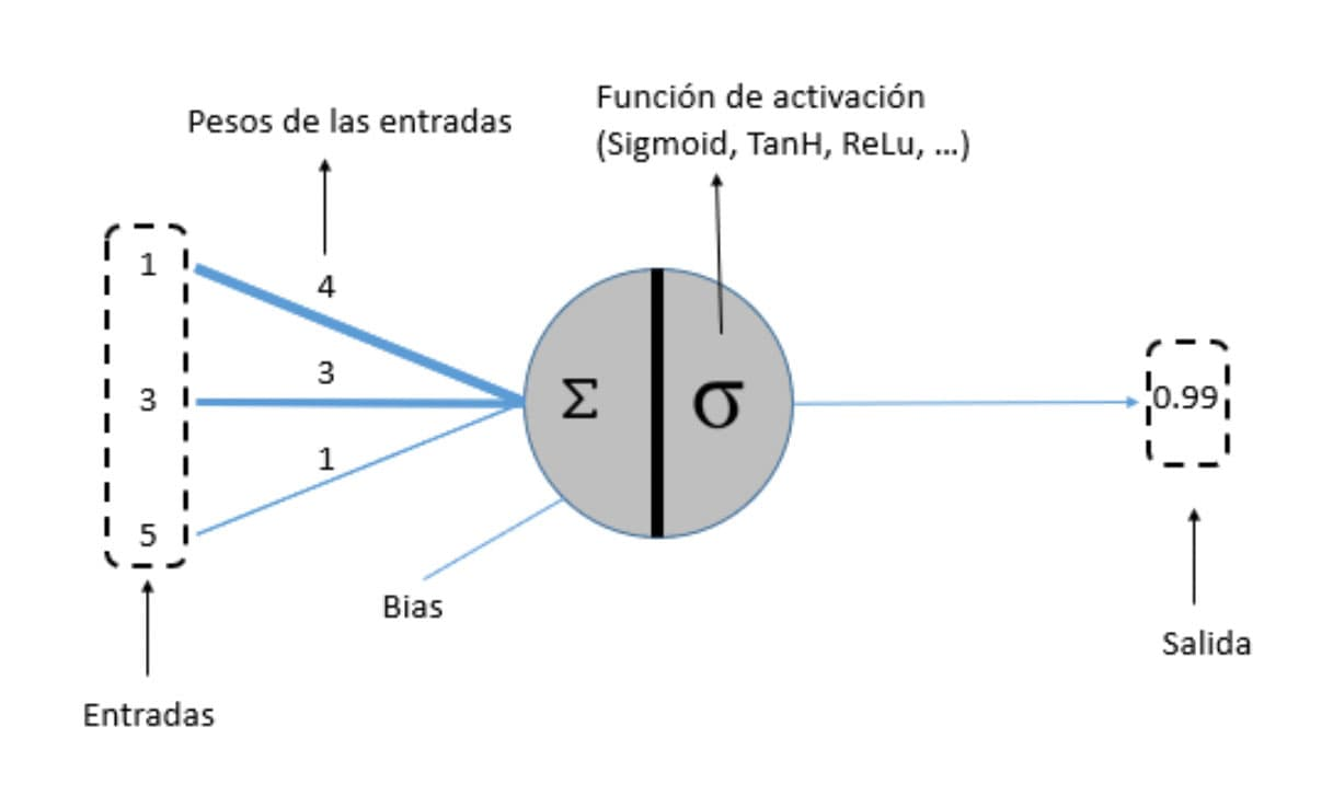 representacion de una red neuronal artificial