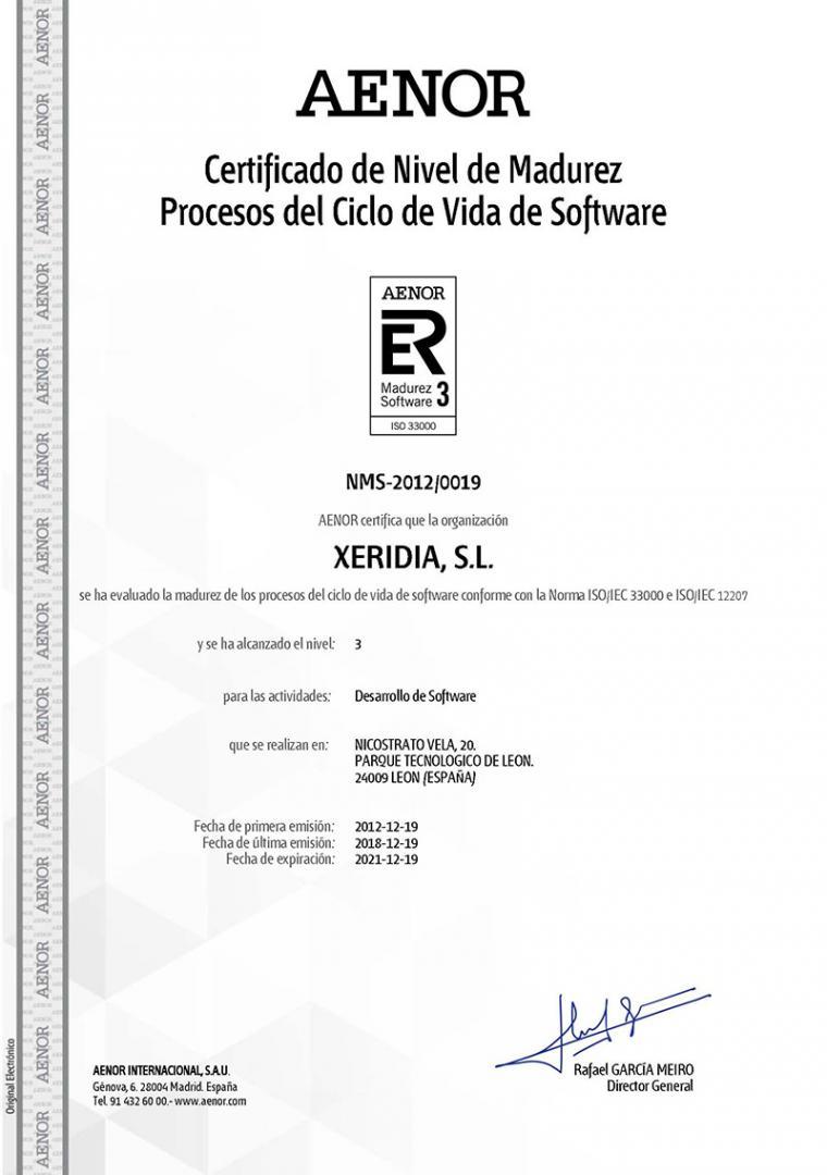 Xeridia certificada en ISO/IEC 33000 L3
